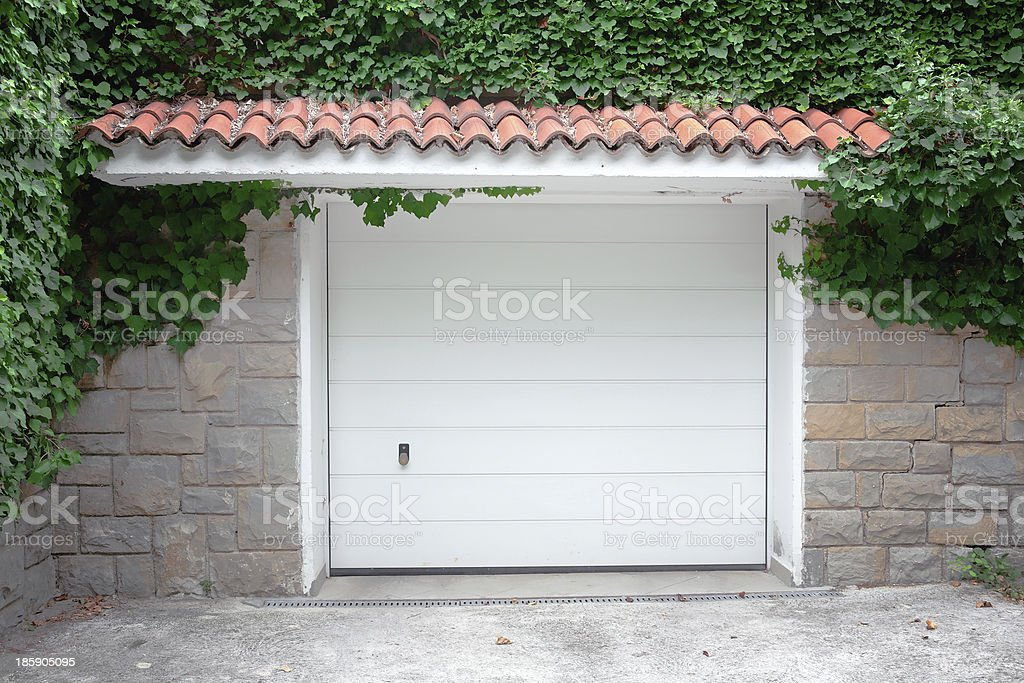 Modern white garage door. . stock photo