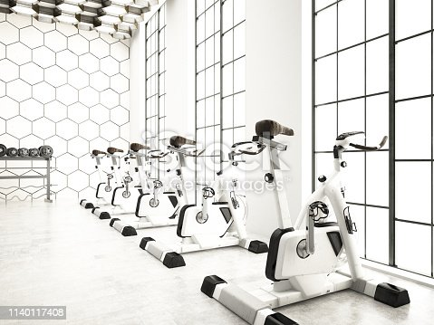 Modern gym and fitness. 3D Render