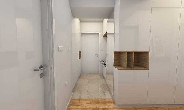 modern white hallway - dielenkommoden stock-fotos und bilder