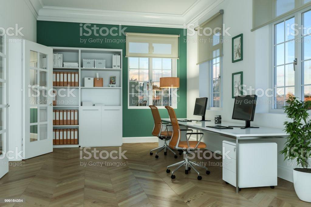 Design dintérieur de bureau moderne à la maison blanche rendu 3d