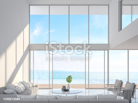 1066863894 istock photo Modern white house interior with sea view 3d render 1036815584