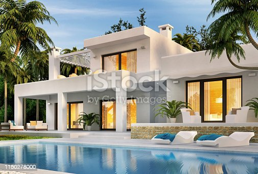Beautiful modern white house with swimming pool