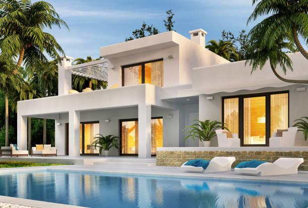 nowoczesny biały dom z basenem - luksus zdjęcia i obrazy z banku zdjęć