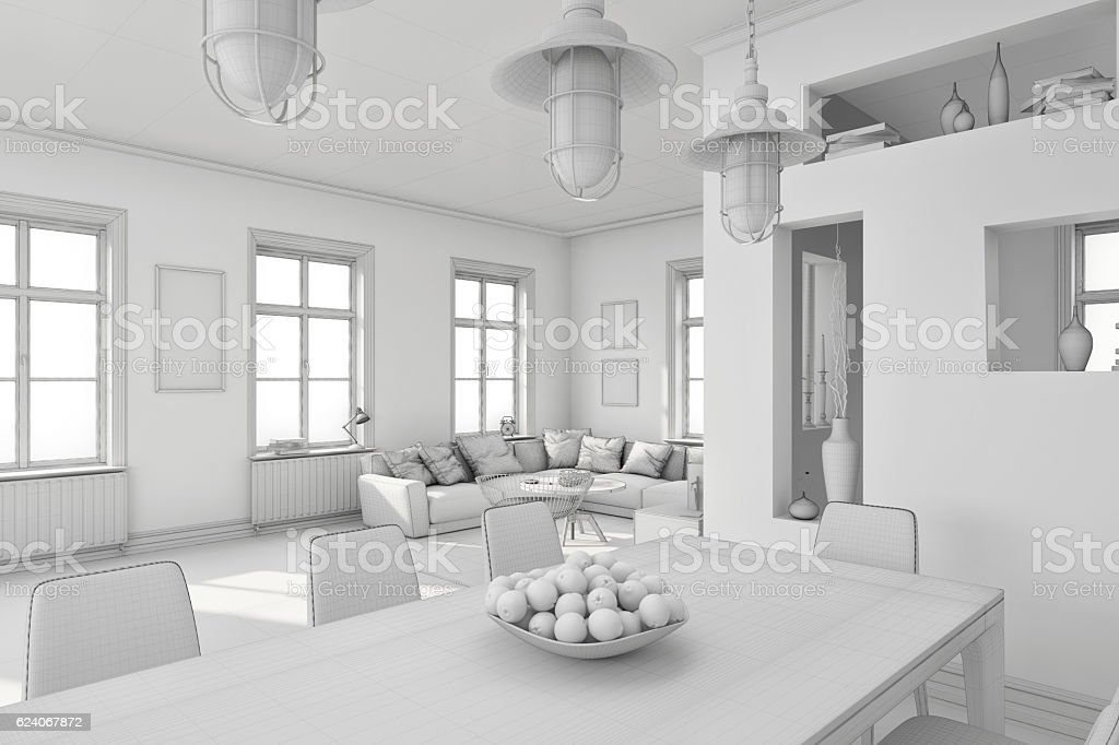 Modern White Interior Mockup Without Materials - Stockfoto | iStock