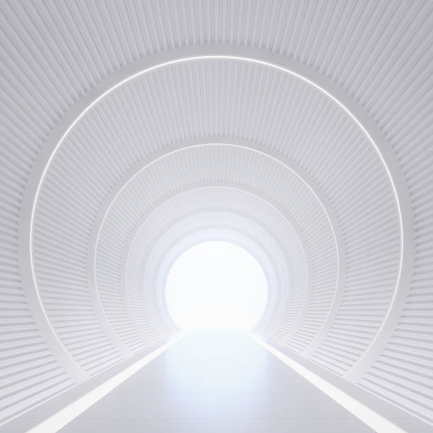 Modern white interior with tunnel space 3d rendering image Modern white interior with tunnel space 3d rendering image.White curved corridor There is light at the destination. arch architectural feature stock pictures, royalty-free photos & images