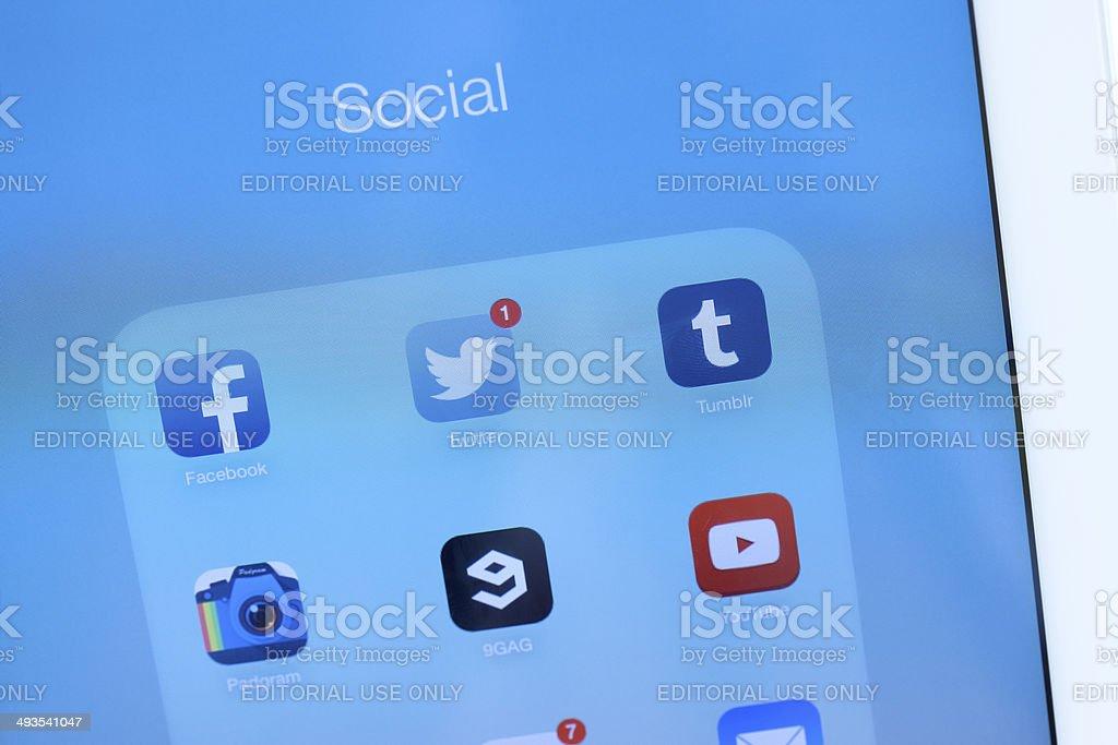 Modern White Ipad Social Apps Closeup Stock Photo & More