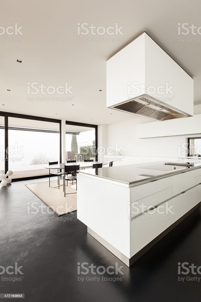 Modern White Kitchen Bench And Table At A New Apartment ...