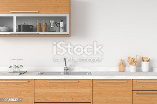 istock Modern white kitchen countertop, 3D rendering 1023593214