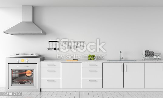 istock Modern white kitchen countertop with gas stove for mockup, 3D rendering 1084517102