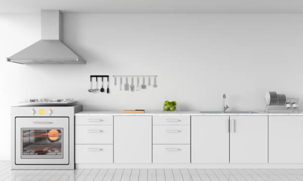 현대 흰색 부엌 싱크대 가스 난로 이랑, 3d 렌더링 - 모던 양식 뉴스 사진 이미지