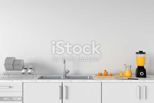 istock Modern white kitchen countertop with sink, 3D rendering 1072715288