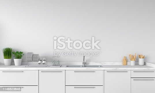 istock Modern white kitchen countertop with sink, 3D rendering 1146523845