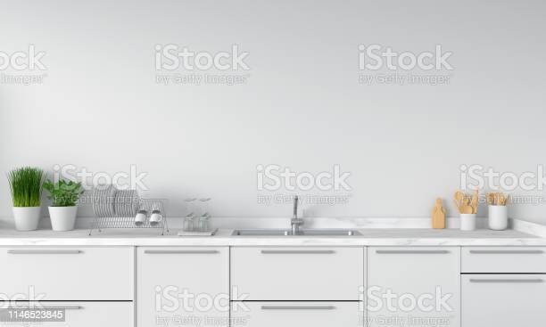 Modern white kitchen countertop with sink 3d rendering picture id1146523845?b=1&k=6&m=1146523845&s=612x612&h=8iwfmlao1idy4gp6heriarnivql2zbwyyost3hx16yu=