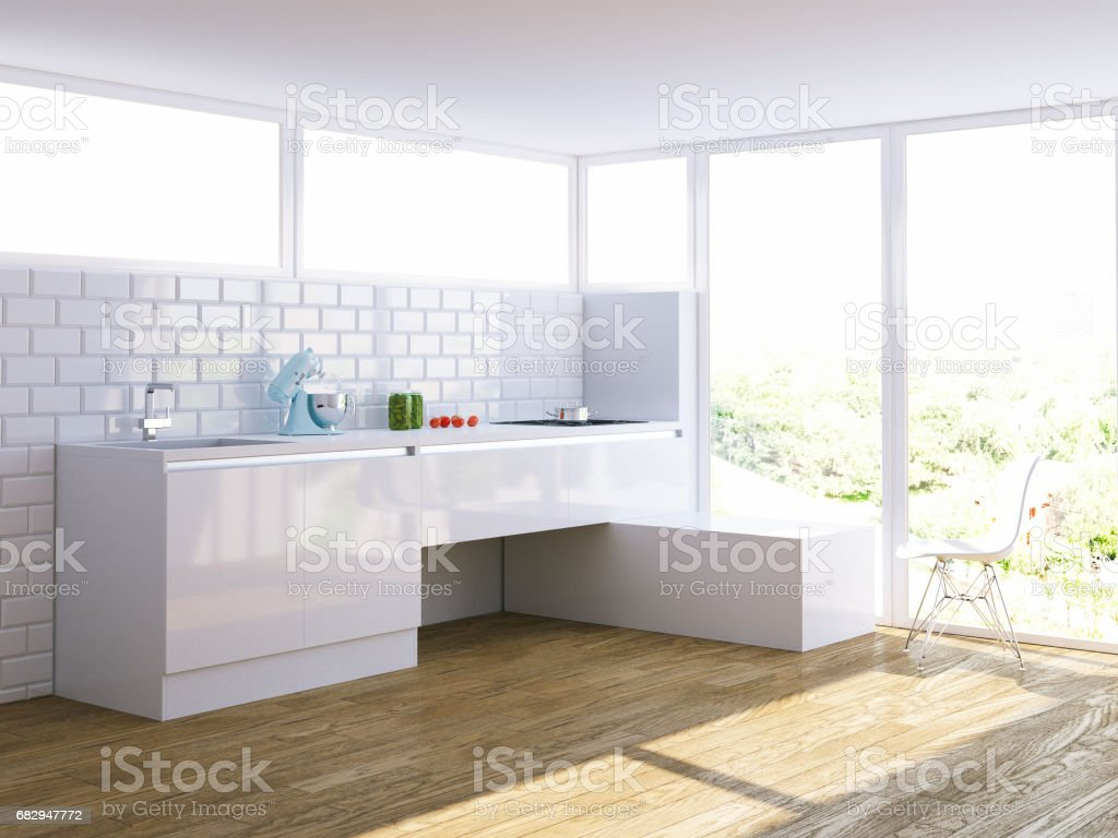 modern white kitchen in bright interior with big window royalty-free stock photo