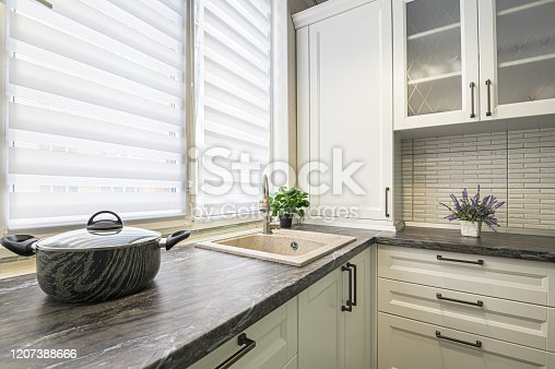 simple well designed modern white kitchen interior