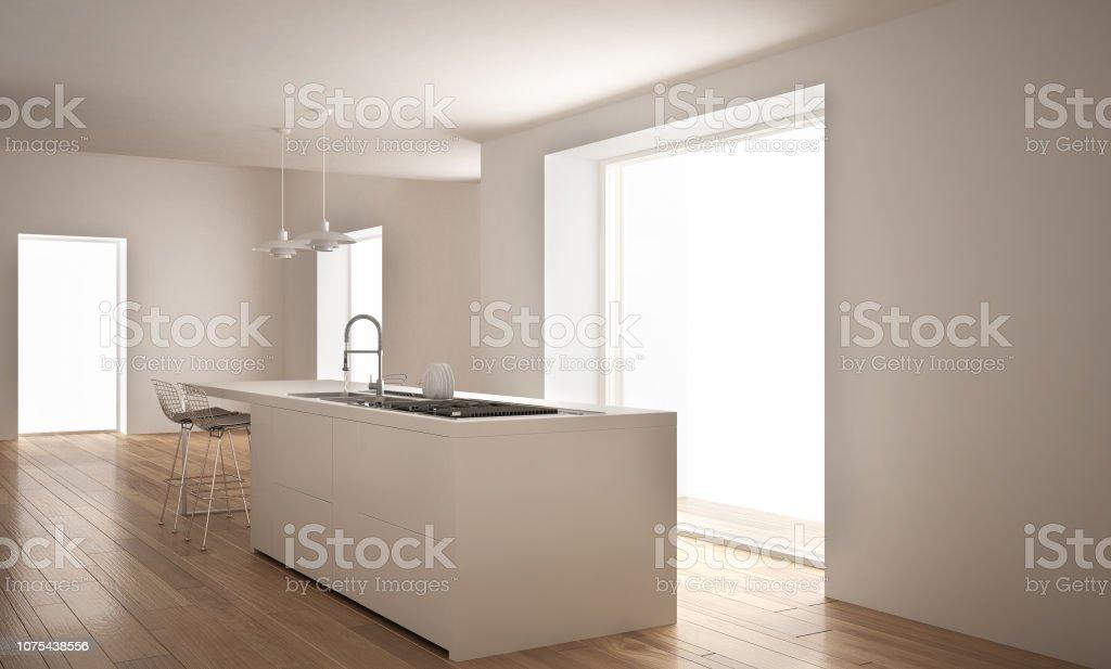 Moderne Blanche Cuisine Avec îlot Et Grande Fenêtre, Architecture  Minimaliste Interior Design Photo Libre De