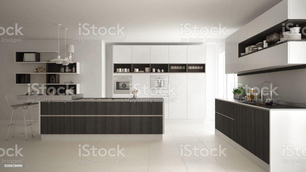 Moderne Weiße Küche Mit Holz Und Weißen Details ...