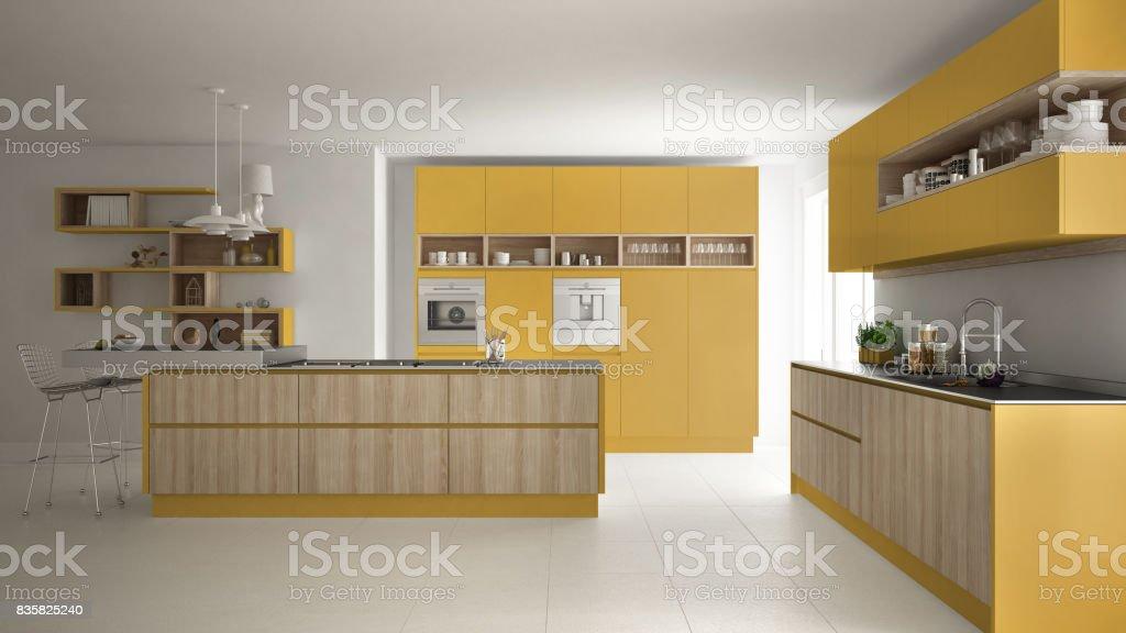 Moderne Weiße Küche Mit Holz Und Gelbe Details Minimalistisches ...
