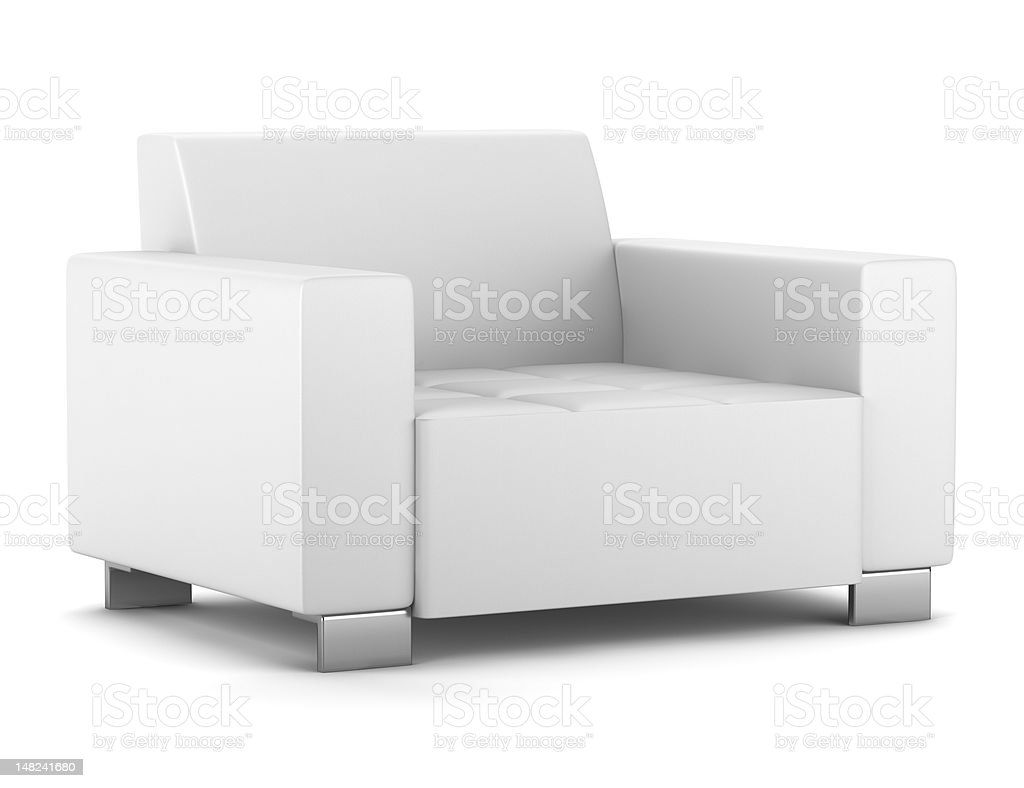 Modern white leather armchair isolated on white stock photo