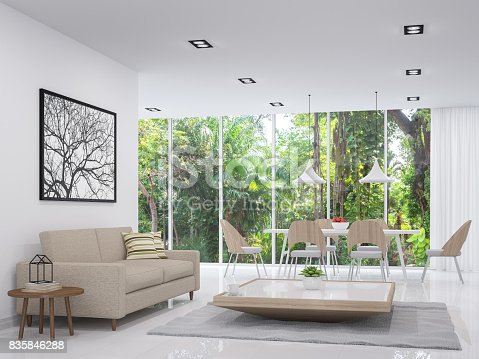 istock Modern white living and dining room with nature view 3d render image 835846288