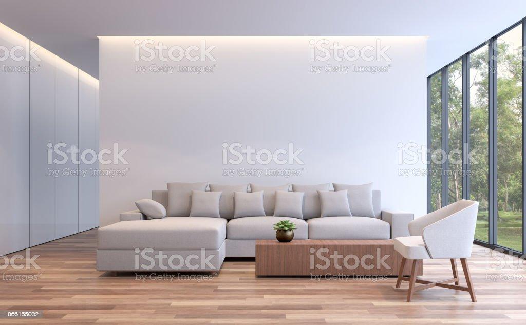 Modern white living minimal style 3d rendering image stock photo