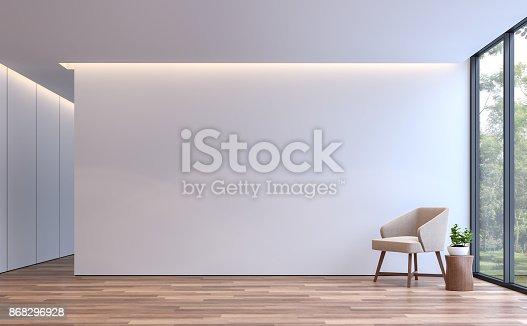 istock Modern white living minimal style 3d rendering image 868296928
