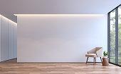 モダンな白い生活最小限のスタイル 3 d レンダリング画像