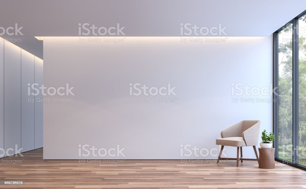 Modern white living minimal style 3d rendering image stock photo