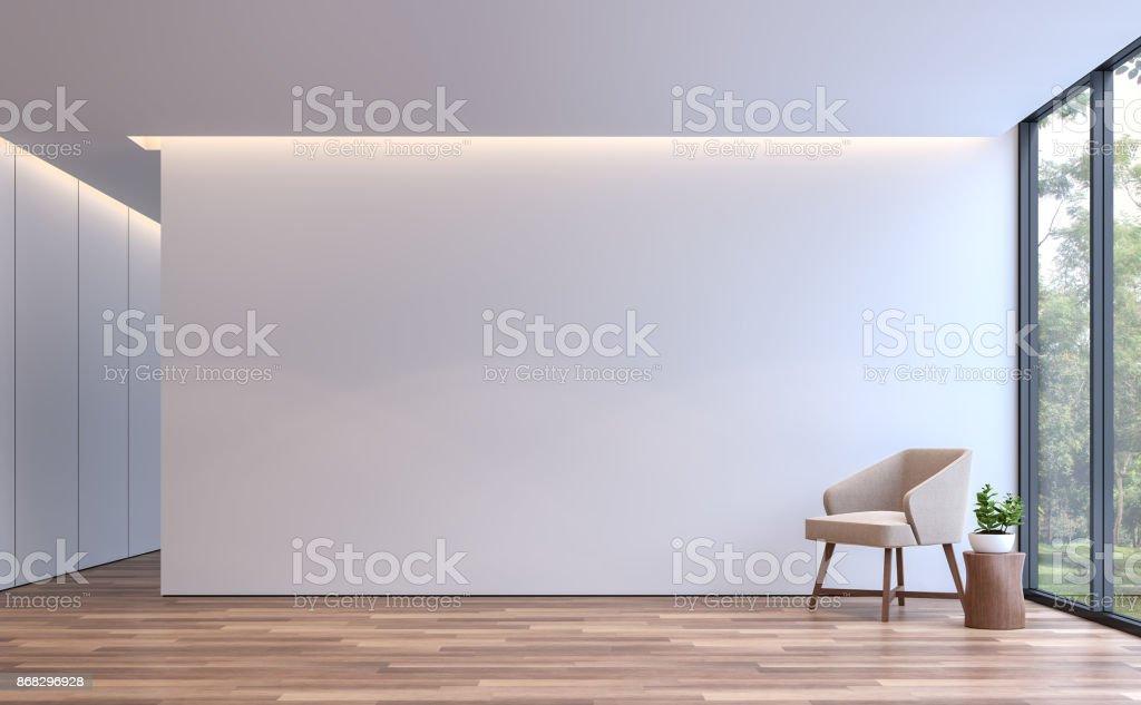 Renderizado 3d de estilo minimalista de vida blanca moderna - foto de stock