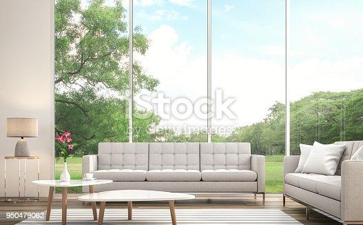 istock Modern white  living room 3d render 950479062