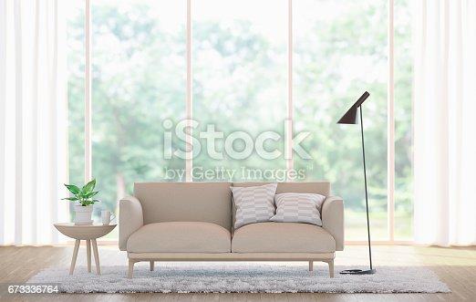 istock Modern white living room 3d rendering image 673336764
