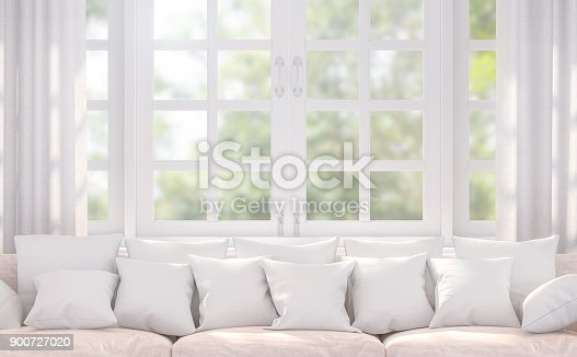 istock Modern white living room 3d rendering image 900727020