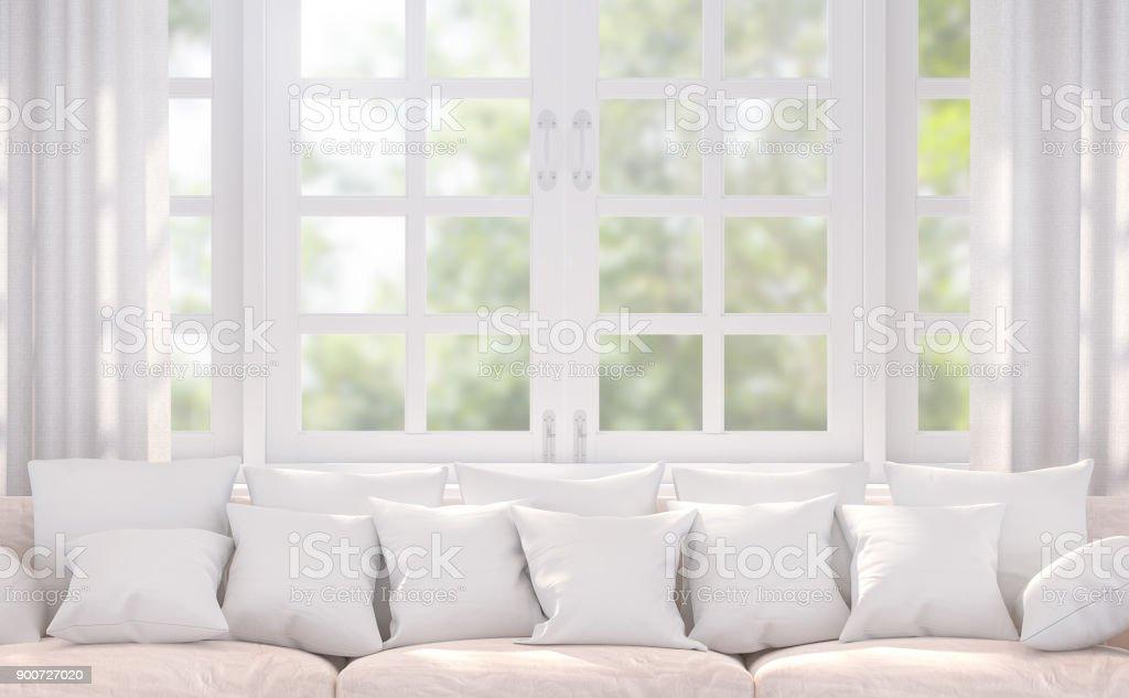 Modern white living room 3d rendering image stock photo