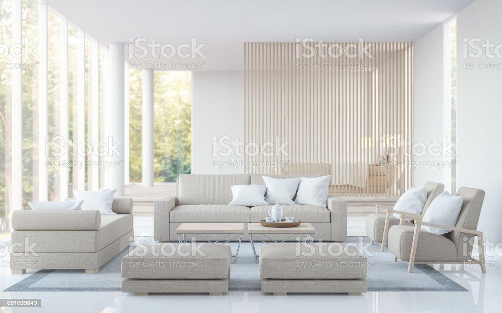 Modern White Living Room And Bedroom 3d Rendering Image ...