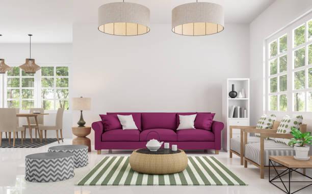 moderne wohnzimmer und esszimmer 3d rendering schwarzweißbild - wohndekoration stock-fotos und bilder