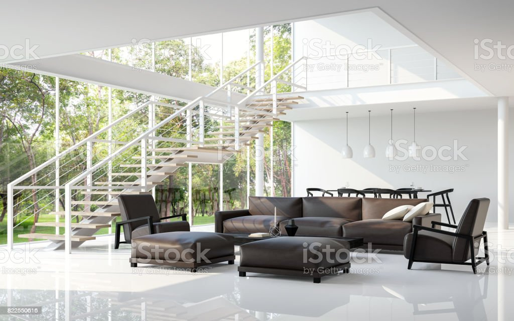 Modern white living room and dining room 3d rendering image stock photo