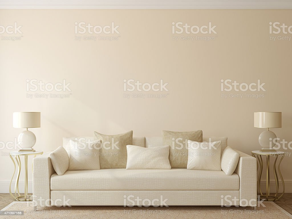 Modern white living room couch stock photo