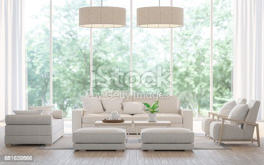 657740026 istock photo Modern white  living room in the forest 3d rendering image 681639866