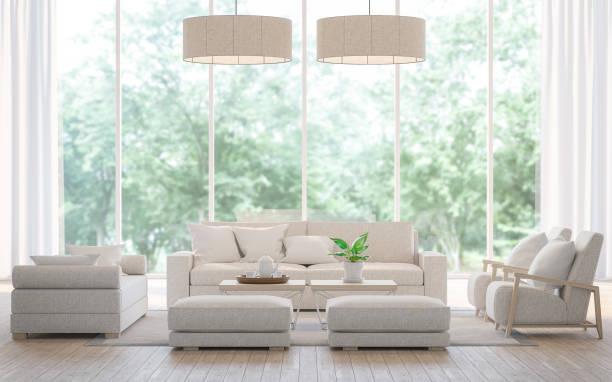 moderno salón blanco en el renderizado 3d de bosque - estilo de vida austero fotografías e imágenes de stock