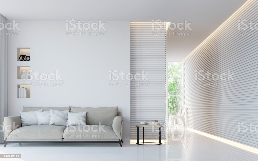 Modern white living room interior 3d rendering image