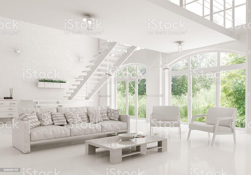 foto de modern white living room interior 3d rendering e mais banco