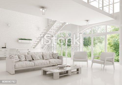 istock Modern white living room interior 3d rendering 608590762