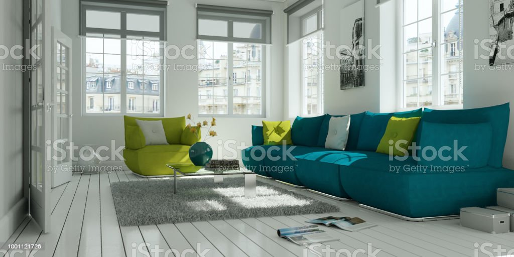 modern white living room interior design with green sofa 3d...