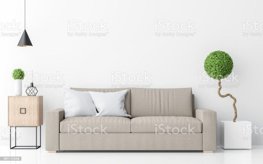 modern white living room interior minimalist style image 3d