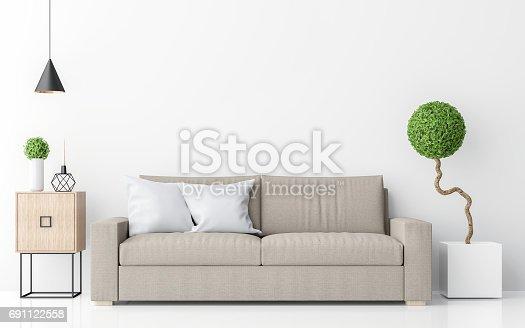 istock Modern white living room interior minimalist style image 3d rendering 691122558