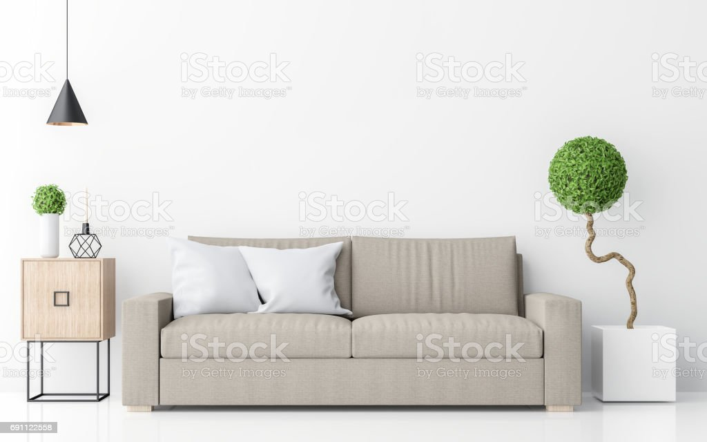 Modern white living room interior minimalist style image 3d rendering stock photo