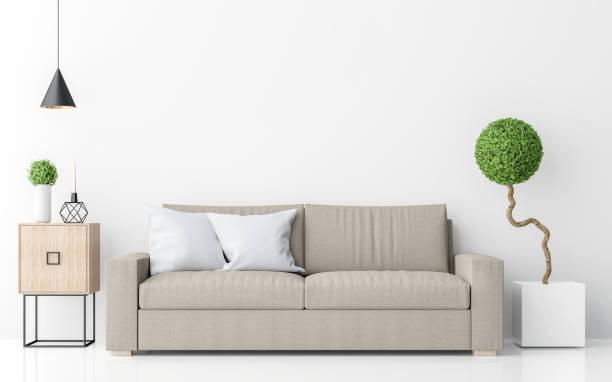 moderne weiße wohnzimmer minimalistischen einrichtungsstil 3d bildwiedergabe - kanapee stock-fotos und bilder