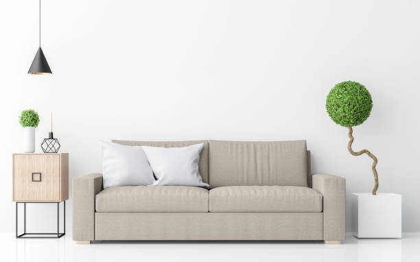 Modern white living room interior minimalist style image 3d rendering stock photo