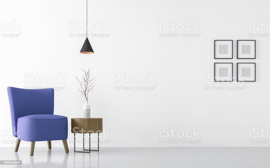 Moderne Weiße Wohnzimmer Interieur Mit Blauen Sessel 3D Rendering  Lizenzfreies Stock Foto
