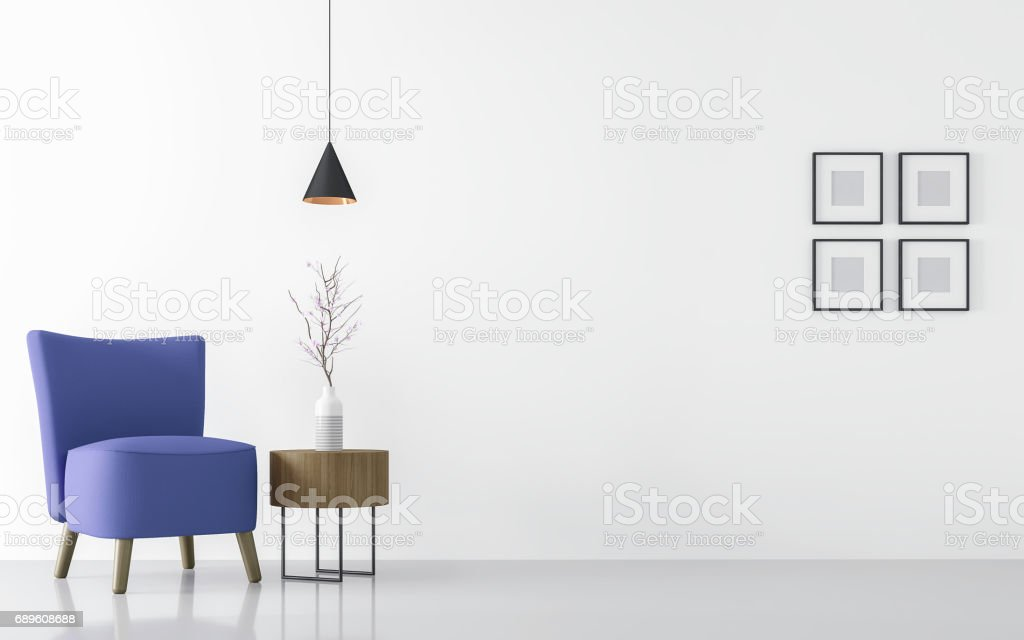 Modern white living room interior with blue armchair 3d rendering
